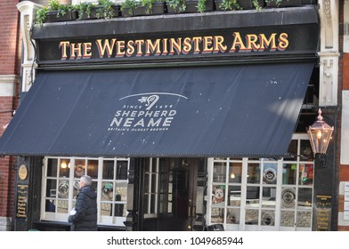 LONDON, UK - CIRCA FEBRUARY 2018: The Westminster Arms pub