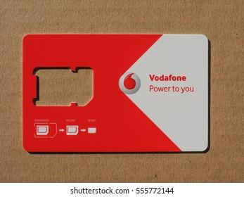 LONDON, UK - CIRCA JANUARY 2017: Vodafone mobile sim card - Power to you