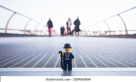 LONDON, UK - CIRCA JANUARY, 2018: English man by lego on Millennium Bridge. Lego is a popular line of construction toys popular with kids and collectors worldwide. Illustrative editorial.