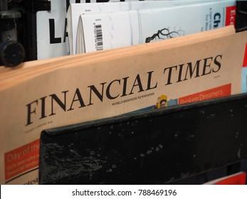 LONDON, UK - CIRCA JANUARY 2018: Financial Times newspaper