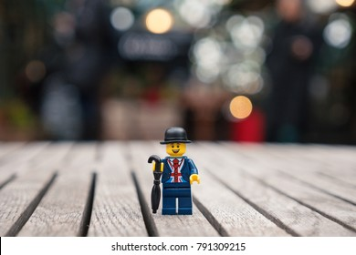 LONDON, UK - CIRCA JANUARY, 2018: English man by lego. Lego is a popular line of construction toys popular with kids and collectors worldwide. Illustrative editorial.