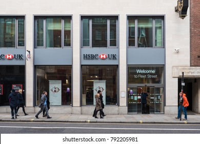 LONDON, UK - CIRCA JANUARY, 2018: HSBC bank in the street. HSBC Holdings plc is a British multinational banking and financial services company headquartered in London, United Kingdom.