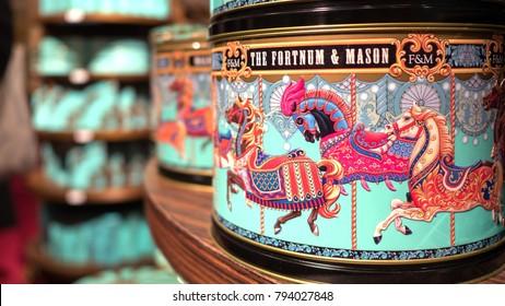 LONDON, UK - CIRCA JANUARY, 2018:  Boxes inside Fortnum & Mason department store. Fortnum & Mason is a famous department store established in 1707 by William Fortnum and Hugh Mason.
