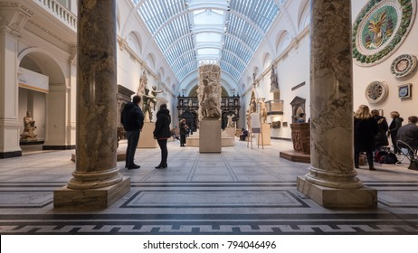 LONDON, UK - CIRCA JANUARY, 2018: Victoria and Albert Museum hall. V&A Museum is the world's largest museum of decorative and design arts.