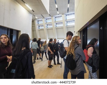 LONDON, UK - CIRCA JUNE 2016: The Switch House at Tate Modern art gallery in South Bank power station
