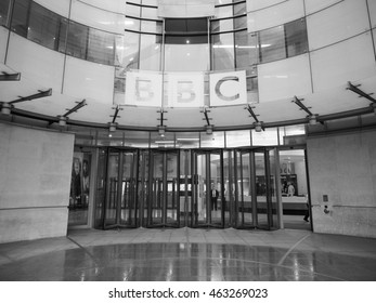 LONDON, UK - CIRCA JUNE 2016: BBC Broadcasting House headquarters of the British Broadcasting Corporation in Portland Place in black and white