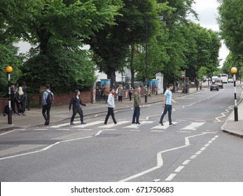 LONDON, UK - CIRCA JUNE 2017: Abbey Road zebra crossing made famous by the 1969 Beatles album cover