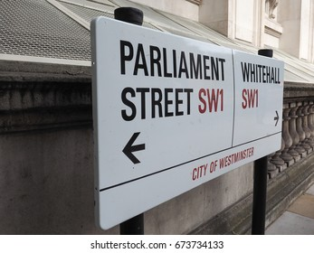LONDON, UK - CIRCA JUNE 2017: Parliament Street sign in the City of Westminster SW1