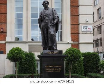 LONDON, UK - CIRCA JUNE 2017: Statue of Michael Faraday in Savoy Place