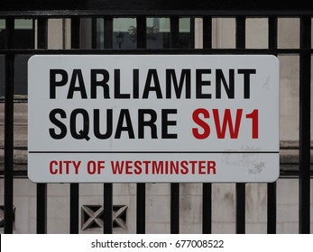 LONDON, UK - CIRCA JUNE 2017: Parliament Square sign in the City of Westminster SW1