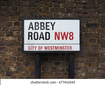 LONDON, UK - CIRCA JUNE 2017: Abbey Road street sign made famous by the 1969 Beatles album cover