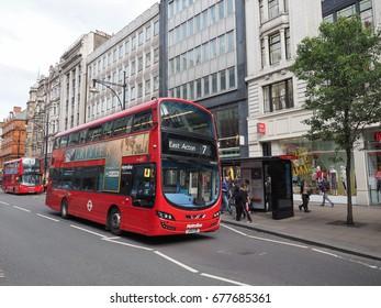 LONDON, UK - CIRCA JUNE 2017: Red double decker bus public transport