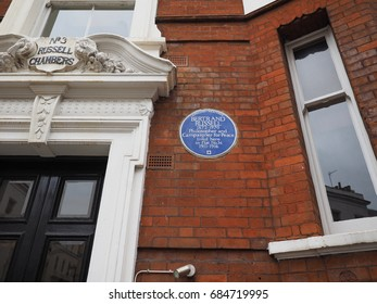 LONDON, UK - CIRCA JUNE 2017: Blue plaque at the House of British philosopher Bertrand Russell