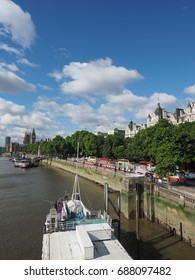LONDON, UK - CIRCA JUNE 2017: Houses of Parliament aka Westminster Palace seen from River Thames