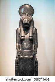 LONDON, UK - CIRCA JUNE 2017: Statue of Goddess Sekmeth at the British Museum (high dynamic range)