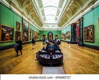 LONDON, UK - CIRCA JUNE 2017: The National Gallery in Trafalgar Square (high dynamic range)