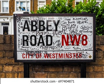 LONDON, UK - CIRCA JUNE 2017: Abbey Road street sign made famous by the 1969 Beatles album cover (high dynamic range)