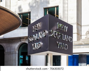 LONDON, UK - CIRCA JUNE 2017: New Scotland Yard metropolitan police service rotating sign (high dynamic range)