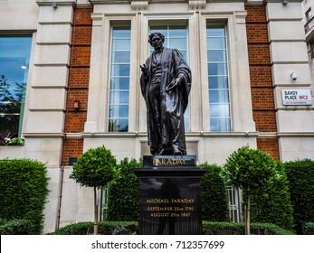 LONDON, UK - CIRCA JUNE 2017: Statue of Michael Faraday in Savoy Place (high dynamic range)