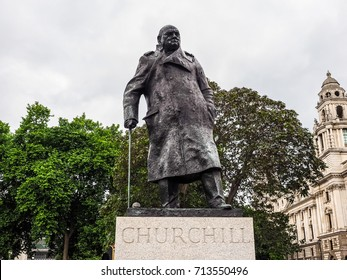 LONDON, UK - CIRCA JUNE 2017: Winston Churchill monument in Parliament Square (high dynamic range)