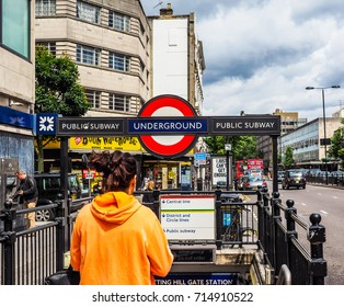 LONDON, UK - CIRCA JUNE 2017: Notting Hill Gate tube station (high dynamic range)