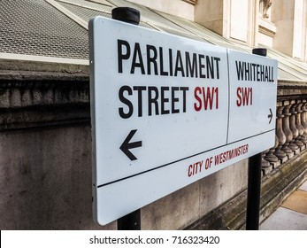 LONDON, UK - CIRCA JUNE 2017: Parliament Street sign in the City of Westminster SW1 (high dynamic range)