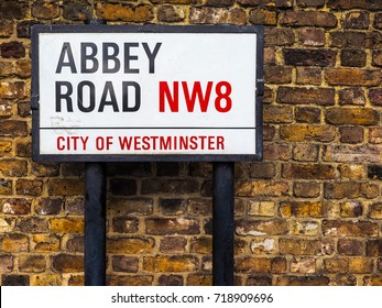 LONDON, UK - CIRCA JUNE 2017: Abbey Road street sign made famous by the 1969 Beatles album cover, high dynamic range