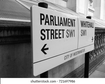 LONDON, UK - CIRCA JUNE 2017: Parliament Street sign in the City of Westminster SW1 in black and white