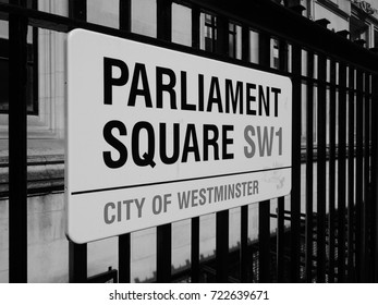LONDON, UK - CIRCA JUNE 2017: Parliament Square sign in the City of Westminster SW1 in black and white