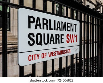 LONDON, UK - CIRCA JUNE 2017: Parliament Square sign in the City of Westminster SW1, high dynamic range
