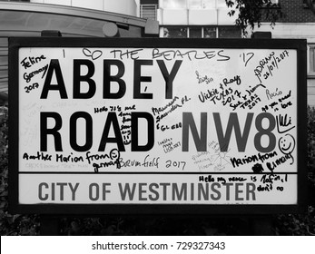LONDON, UK - CIRCA JUNE 2017: Abbey Road street sign made famous by the 1969 Beatles album cover in black and white