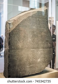 LONDON, UK - CIRCA JUNE 2017: The Rosetta stone at the British Museum, high dynamic range