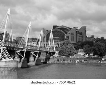 LONDON, UK - CIRCA JUNE 2017: Charing Cross railway station in black and white
