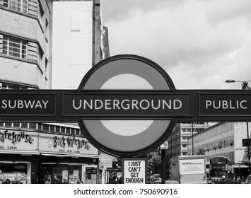 LONDON, UK - CIRCA JUNE 2017: Notting Hill Gate tube station in black and white