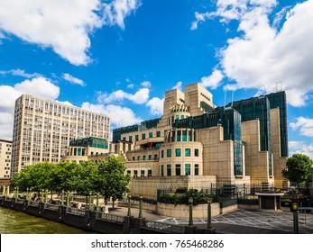 LONDON, UK - CIRCA JUNE 2017: SIS MI6 headquarters of British Secret Intelligence Service at Vauxhall Cross London, high dynamic range