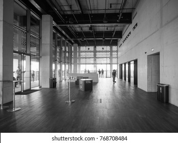 LONDON, UK - CIRCA JUNE 2017: The Tavatnik Bulding (aka Switch House) at Tate Modern art gallery in South Bank power station in black and white