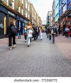 LONDON, UK - CIRCA JUNE 2017: Carnaby Street in Soho, high dynamic range