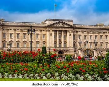 LONDON, UK - CIRCA JUNE 2017: Buckingham Palace royal palace, high dynamic range