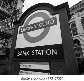 LONDON, UK - CIRCA JUNE 2017: Bank tube station roundel sign in black and white