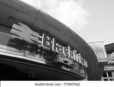 LONDON, UK - CIRCA JUNE 2017: Blackfriars railway station in black and white