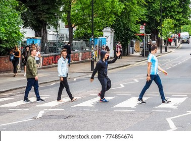 LONDON, UK - CIRCA JUNE 2017: Abbey Road zebra crossing made famous by the 1969 Beatles album cover (high dynamic range)