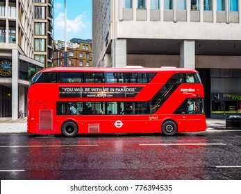 LONDON, UK - CIRCA JUNE 2017: Red double decker bus public transport, high dynamic range
