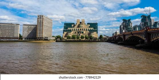 LONDON, UK - CIRCA JUNE 2017: SIS MI6 headquarters of British Secret Intelligence Service at Vauxhall Cross London (high dynamic range)
