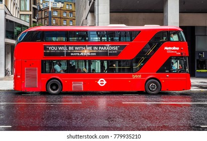 LONDON, UK - CIRCA JUNE 2017: Red double decker bus public transport (high dynamic range)