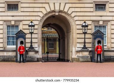 LONDON, UK - CIRCA JUNE 2017: The Guard at Buckingham Palace royal palace (high dynamic range)