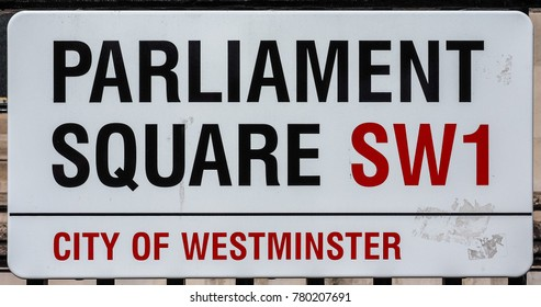 LONDON, UK - CIRCA JUNE 2017: Parliament Square sign in the City of Westminster SW1 (high dynamic range)