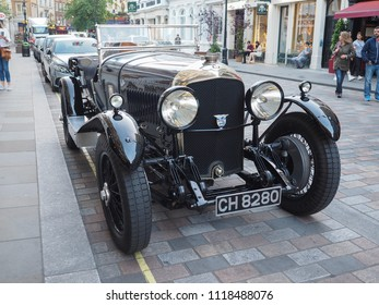 LONDON, UK - CIRCA JUNE 2018: 1929 Bentley 4 1/2 Litre vintage car in Covent Garden