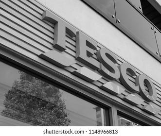 LONDON, UK - CIRCA JUNE 2018: Tesco supermarket storefront in black and white