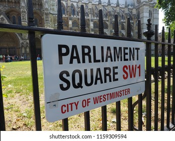 LONDON, UK - CIRCA JUNE 2018: Parliament Square sign in the city of Westminster