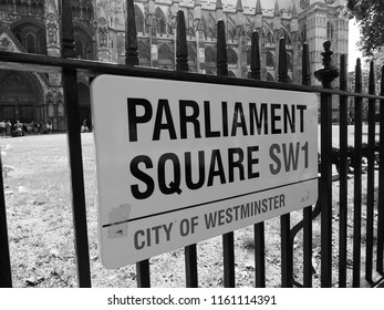 LONDON, UK - CIRCA JUNE 2018: Parliament Square sign in the city of Westminster in black and white